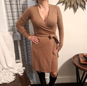 DVF Camel Tan Petite Wrap Dress